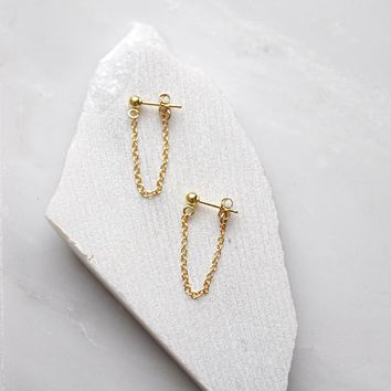 LWONG 4mm Gold Color Ball Chain Ear Jacket Earrings for Women Minimalist Ear Cuff Earrings Simple Thin Chain Wrap Earrings Gifts