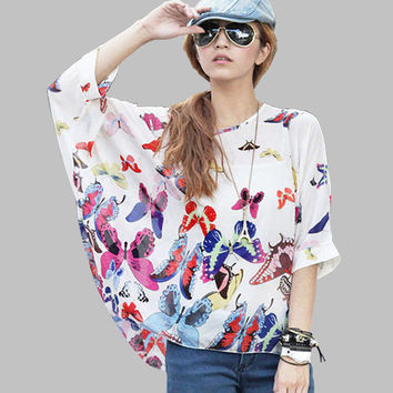 Summer Tops Plus Size Women Summer Clothing 6XL 2016 New Style Batwing Sleeve Casual Blouses Floral Print Women's Chiffon Shirts