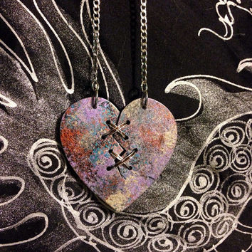 Metallic, Painted Heart, Ex Marks The Heart, Laser Cut, Statement Necklace, Mended Heart, Distressed, SteamPunk, Heart Necklace,