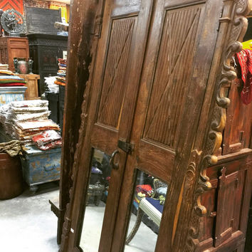 Antique Door Set Indian Mirror Carved Teak Wood Doors with Frame and Lock _ Reclaimed Architectural