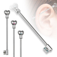 "Heart Key with CZs Industrial Barbell 14ga With Blue Rhinestone 1 3/8"" 316L Surgical Stainless Steel"