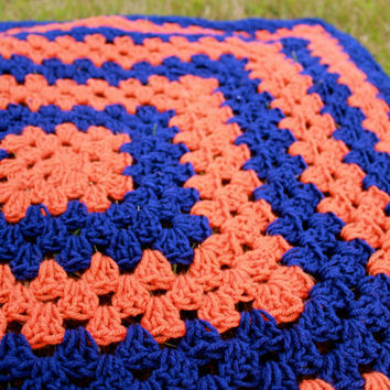 Granny Square Afghan Blue and Orange 4X4 Throw