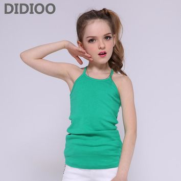Girls Tank Tops Candy Color Cotton Vests For Girls Children Clothing Summer Sleeveless T-Shirts Girls Kids Tees
