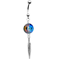 Handcrafted Cosmic Allure Feather Dangle Belly Ring MADE WITH SWAROVSKI ELEMENTS | Body Candy Body Jewelry
