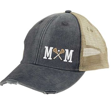 Lacrosse Mom Distressed Snapback - off-center