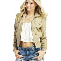 Ribbed Sides Bomber Jacket | Wet Seal