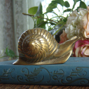 vintage brass snail figurine collectible for by HipHistoryVintage