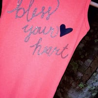 "Personalize Your Favorite Tank Top or T-shirt with this Custom ""Bless Your Heart"" DIY Iron-on Decal Vine Script Monogram Preppy Southern"