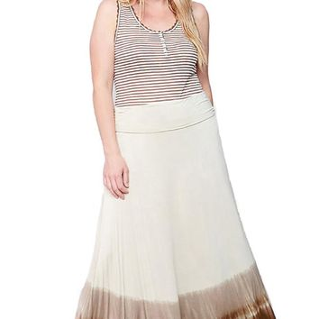 Plus Size Tie Dye Casual Long Fold Over Maxi Skirt Women's …
