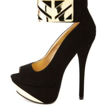 Qupid Gold-Plated Ankle Cuff Platform Heels - Black