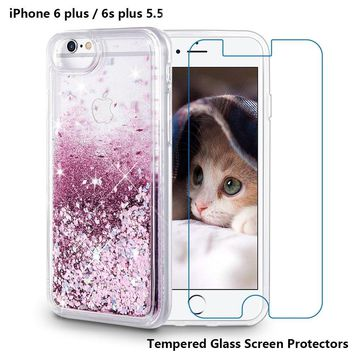 iPhone 6 Plus Case, iPhone 6S Plus Case, Maxdara [Tempered Glass Screen Protector] Glitter Liquid Sparkle Protective Bumper Case Floating Bling Pretty Quicksand for Girls Children 5.5 inch (Rosegold)