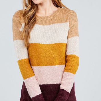 Long Sleeve Round Neck Color Block Sweater Oatmeal/Mustard