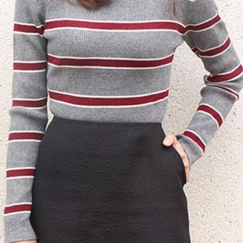 Grey Striped Long Sleeve Pullover Sweater