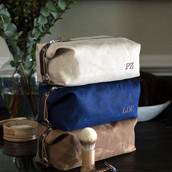 Personalized Gift for Groomsman NO. 345 Monogram Dopp Kit Men's Toiletry Bag Waxed Canvas and Leather Embroidered Monogram Affixed Straps