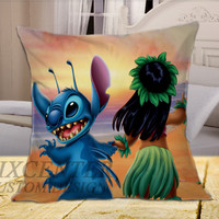 lilo and stitch beach on Square Pillow Cover
