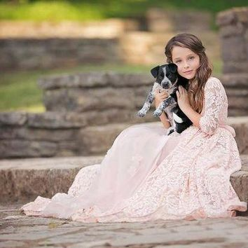 ICIKWJ7 half sleeve vintage rustic lace girls dress for photograph props tulle pink dress for girls beach flower girl dress for weddings