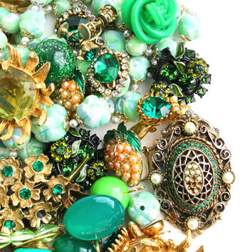 Vintage Green Broken Jewelry Lot - Earrings, Brooches, Necklaces, Beads For Repair Repurpose / 14 Ounces of Green Destash Supplies