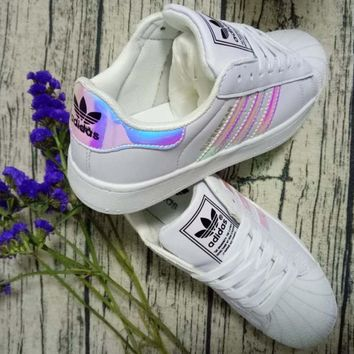 Adidas Fashion Reflective Shell-toe Flats Sneakers Sport Shoes Laser PINK-6