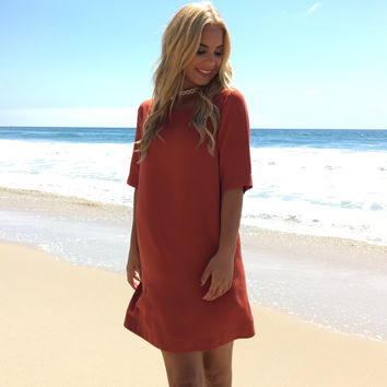 Well Polished Shift Dress In Rust