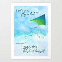 Let's Go Fly a Kite! Art Print by Noonday Design