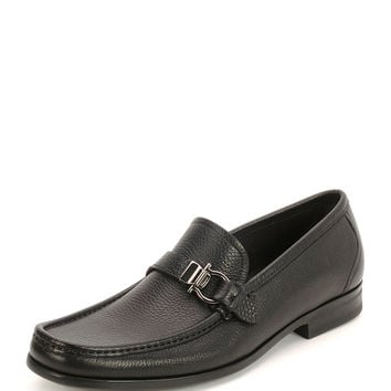 Muller Textured Calfskin Side Gancio Loafer, Black - Salvatore Ferragamo