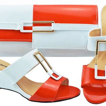 Latest Orange+White Wedges heel African Women Shoes And Bag Sets Pumps Italian Shoes With Matching Bags For Evening Party