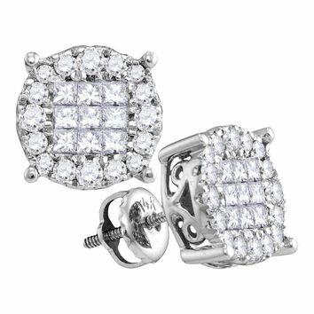 14kt White Gold Women's Princess Diamond Soleil Cluster Earrings 1.00 Cttw - FREE Shipping (USA/CAN)