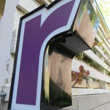 Neon Channel Sign Letter 'R': Purple, Black & White Lowercase Initial with LEDs - Reclaimed Industrial Advertising Salvage