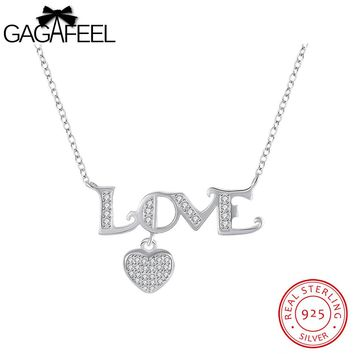 GAGAFEEL Love Letter Heart Romantic Necklace Women Sterling Silver 925