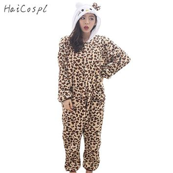 Hello Kitty Cat Pajama Women Animal Leopard Cosplay Party Costume Panther Flannel Warm Button Girl Anime Onesuit Adult Sleepwear