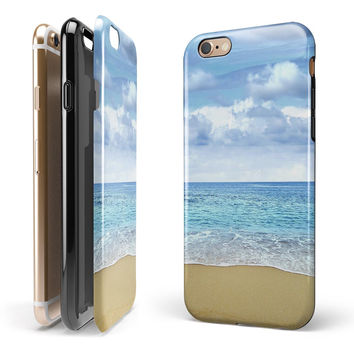 Calm Blue Sky and Sea Shore iPhone 6/6s or 6/6s Plus 2-Piece Hybrid INK-Fuzed Case