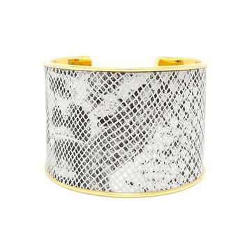 Black White Snake Glossy Leather Bracelet Cuff Extra Wide