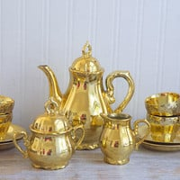 Vintage Tea Set, Gold Musical Teapot with Love Story theme, 13 piece Gold Demitasse Tea Party Collection Japan