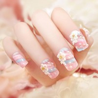 24PCS Nail art products bride fake nails patch pearl nail art products Fingernail piece Blue and pink lace (Contains no glue)