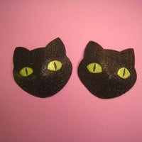 Superstitious black cats pasties / with glow in the dark eyes