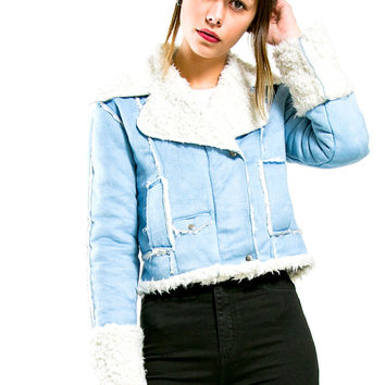 Vintage Baby Blue Shearling Jacket