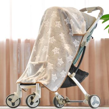 Quality Baby Multifunctional Blanket Infant Cartoon With Pocket Flannel Baby Carriage Blankets Baby Throw Blanket Portable Gift