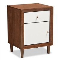Modern Mid Century Style End Table Nightstand in White & Walnut Finish