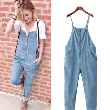 Women's Fashion Rinsed Denim Casual Denim Romper Pants Jeans [4918672836]