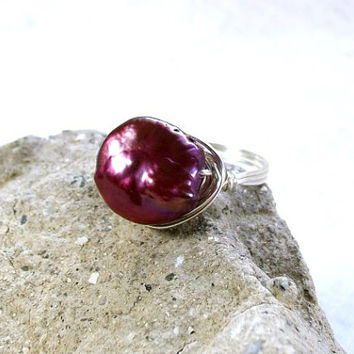 Freshwater pearl ring, size 9 ring, wire wrapped ring, handmade ring, wire wrapped pearl ring, cranberry pearl, wine pearl. Made in USA.