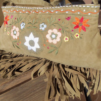 Flower Fringe Brown Hippie Purse - Hipster Bag