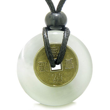Lucky Coin Magic Powers Amulet White Cats Eye Crystal 30mm Donut Pendant Necklace