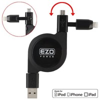 MFI Lightning & Micro USB Retractable Cable, Apple Certified MFI EZOPower 2 in 1 Lightning Connector + Micro-USB Charge & Sync Retractable USB Data Cable - Black