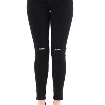 Weston Low Rise Distressed Black Jean