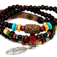3 circles chocolate wood beads women jewelry bangle bracelet, men jewelry bangle bracelet 728A