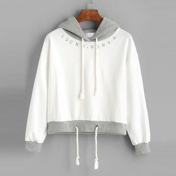 Women Hooded 2017 Autumn Long Sleeve Spliced Casual Letter Embroidery Hoodies Sweatshirt Pullover Women sudadera mujer #920