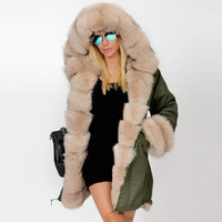 Alishebuy New Women Winter Long Warm Thick Parka Faux Fur Jacket Hooded Coat