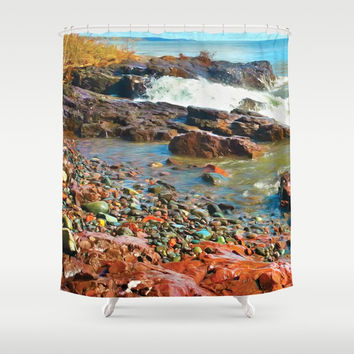 North Shore Waves 2 Shower Curtain by Heidi Haakenson