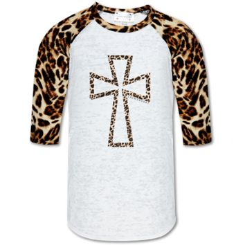 Couture Lightheart Leopard Cross Raglan Long Sleeve T-Shirt