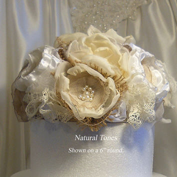Shabby Burlap Cake Topper, Natural Tones of Burlap, Silk, Sheer and Vintage Lace.